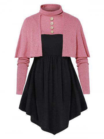 Plus Size Button Crop Sweater with Tunic T Shirt