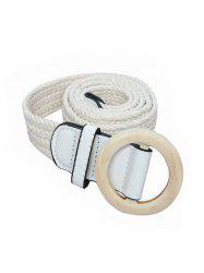 Wide Crochet Braid Round Buckle Belt -