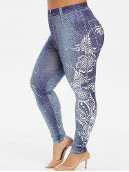 Plus Size Skinny Tribal Print 3D Jeggings -