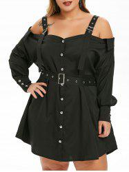Plus Size Cold Shoulder Buckle Belted Dress -