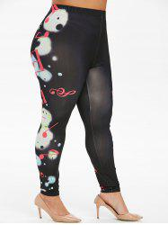 Plus Size Musical Note Planet Print Skinny Leggings -