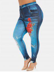 Plus Size Flower Print High Waisted 3D Jeggings -
