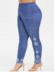 Plus Size High Waisted Printed Leggings -