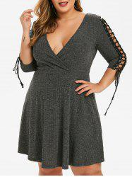 Plus Size Low Cut Lace Up Dress -