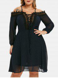 Plus Size Lace Up Swiss Dot Cold Shoulder Dress -