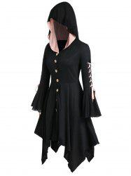 Plus Size Hooded Lace Up Handkerchief Halloween Coat -