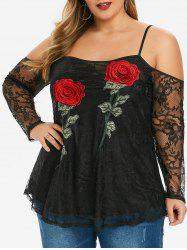 Plus Size Embroidered Open Shoulder Lace Blouse -