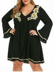 Plus Size Embroidered Empire Waist Dress -