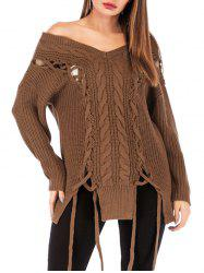Lace Up Cable Knit Off Shoulder Sweater -