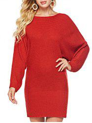 Batwing Sleeves Solid Round  Neck Sweater -