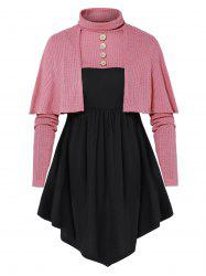 Plus Size Button Crop Sweater with Tunic T Shirt -