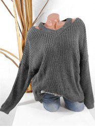 Plus Size Cut Out Chunky Jumper -