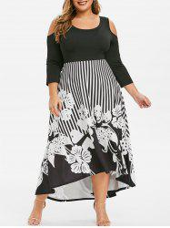 Plus Size Striped Flower High Low Maxi Dress -
