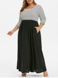 Seam Poches Stripes Panel Plus Size Maxi Dress - Noir 4X