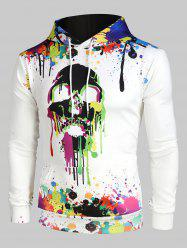 Colorful Painting Splatter Skull Print Kangaroo Pocket Halloween Hoodie -
