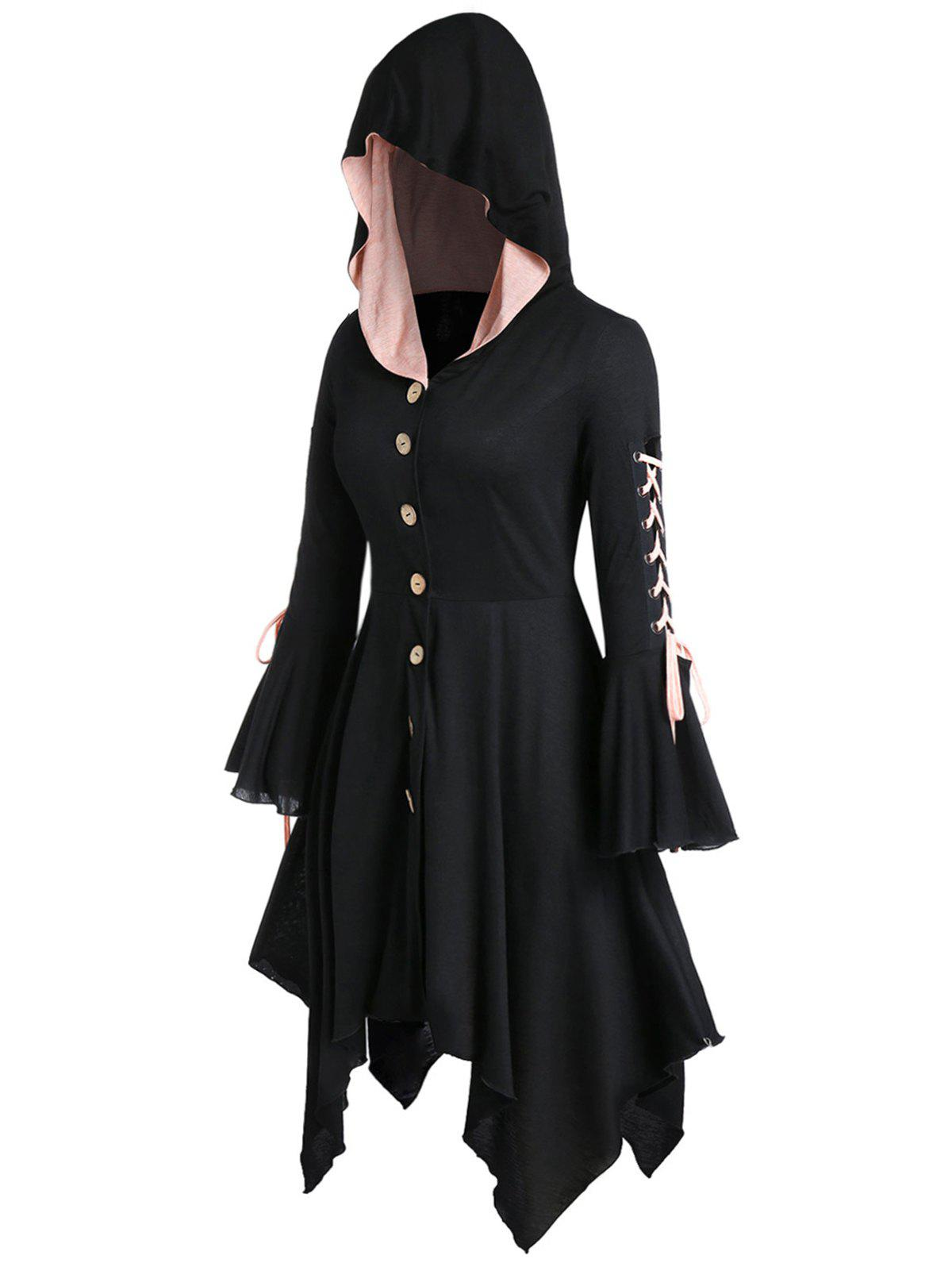 Trendy Plus Size Hooded Lace Up Handkerchief Halloween Coat