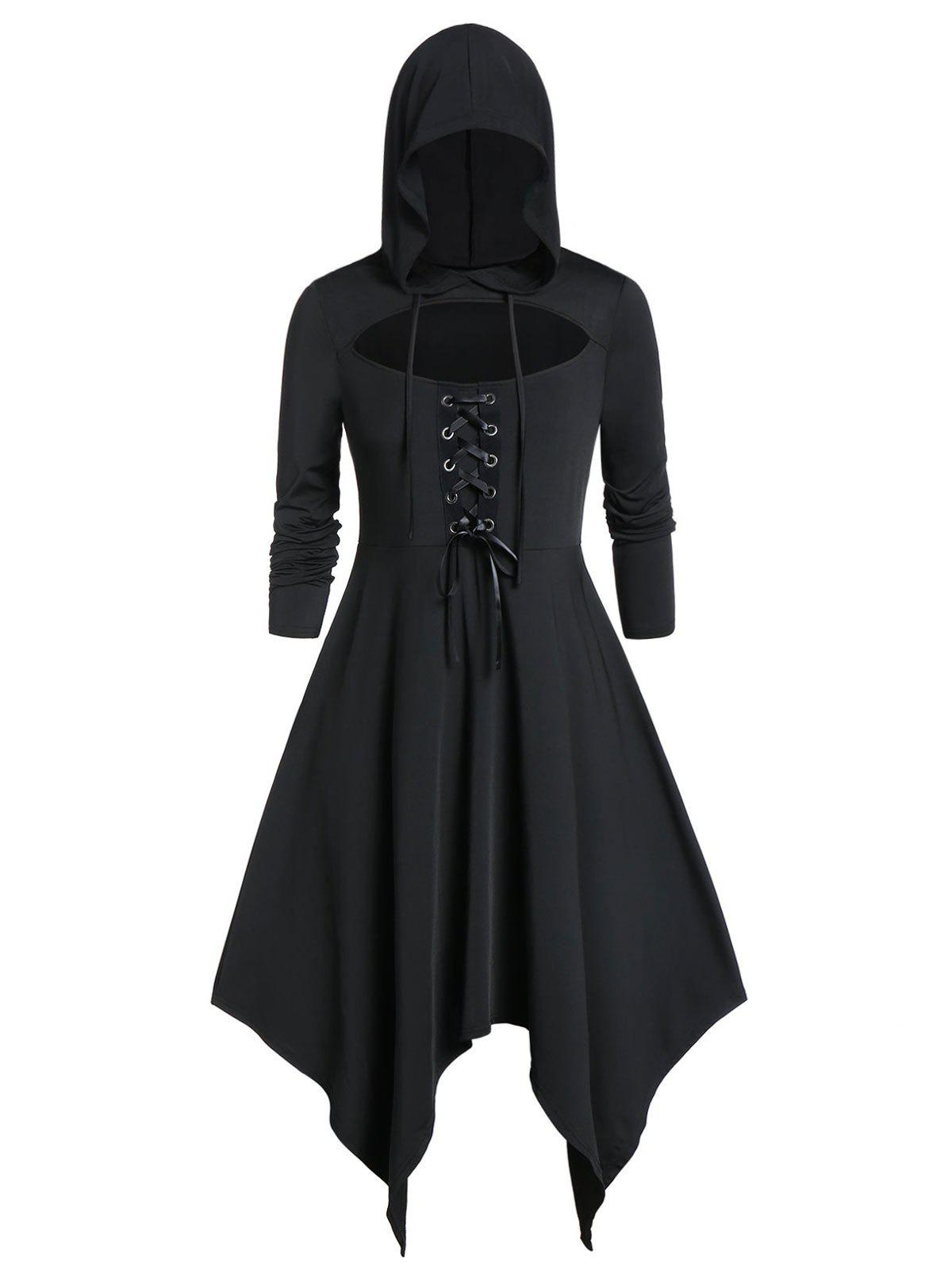 Outfits Plus Size Solid Cut Out Hooded Dress