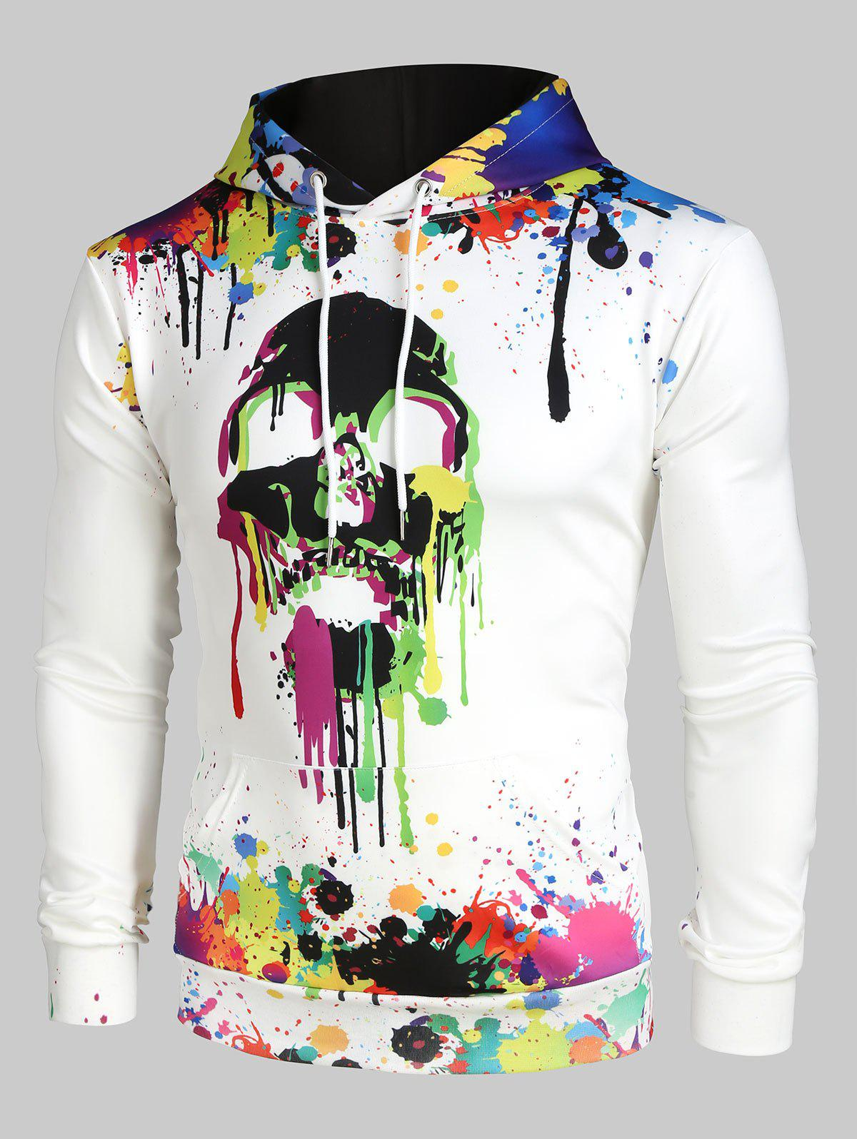 Best Colorful Painting Splatter Skull Print Kangaroo Pocket Halloween Hoodie