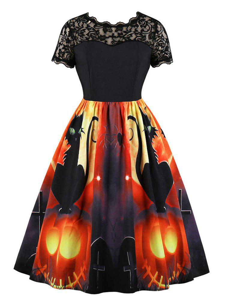 Outfit Lace Panel Pumpkin Print Round Neck Halloween Dress