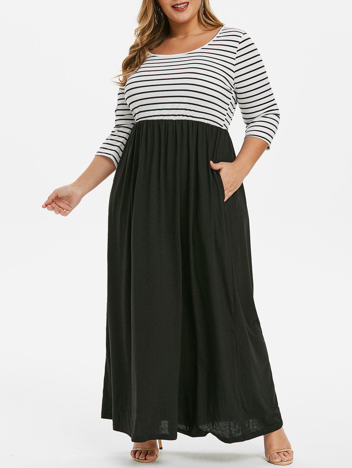 Seam Poches Stripes Panel Plus Size Maxi Dress Noir 4X