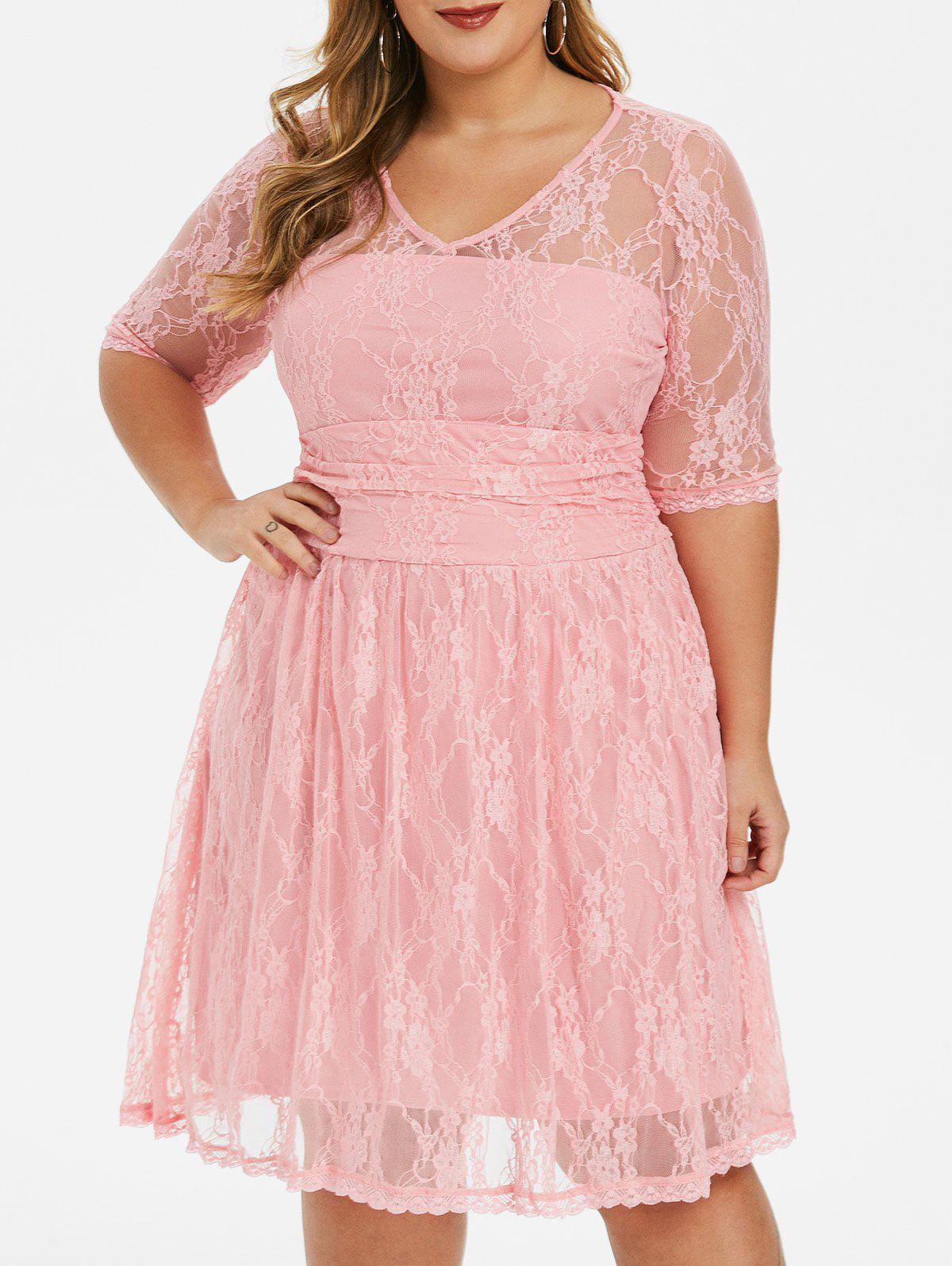 Affordable Scalloped Hem Ruched Plus Size Lace Dress