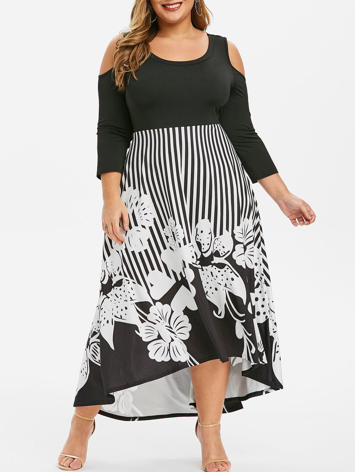 Sale Plus Size Striped Flower High Low Maxi Dress