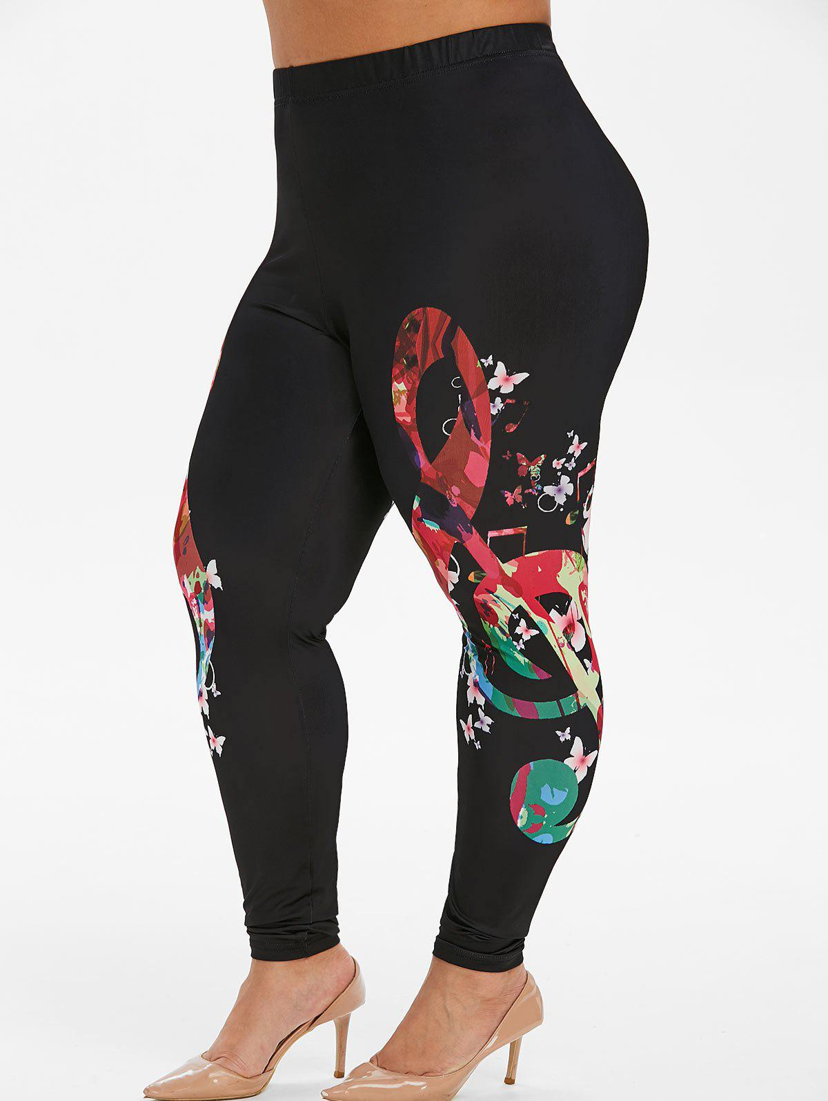 Plus Size Musical Note Flower Print Skinny Leggings Rosegal