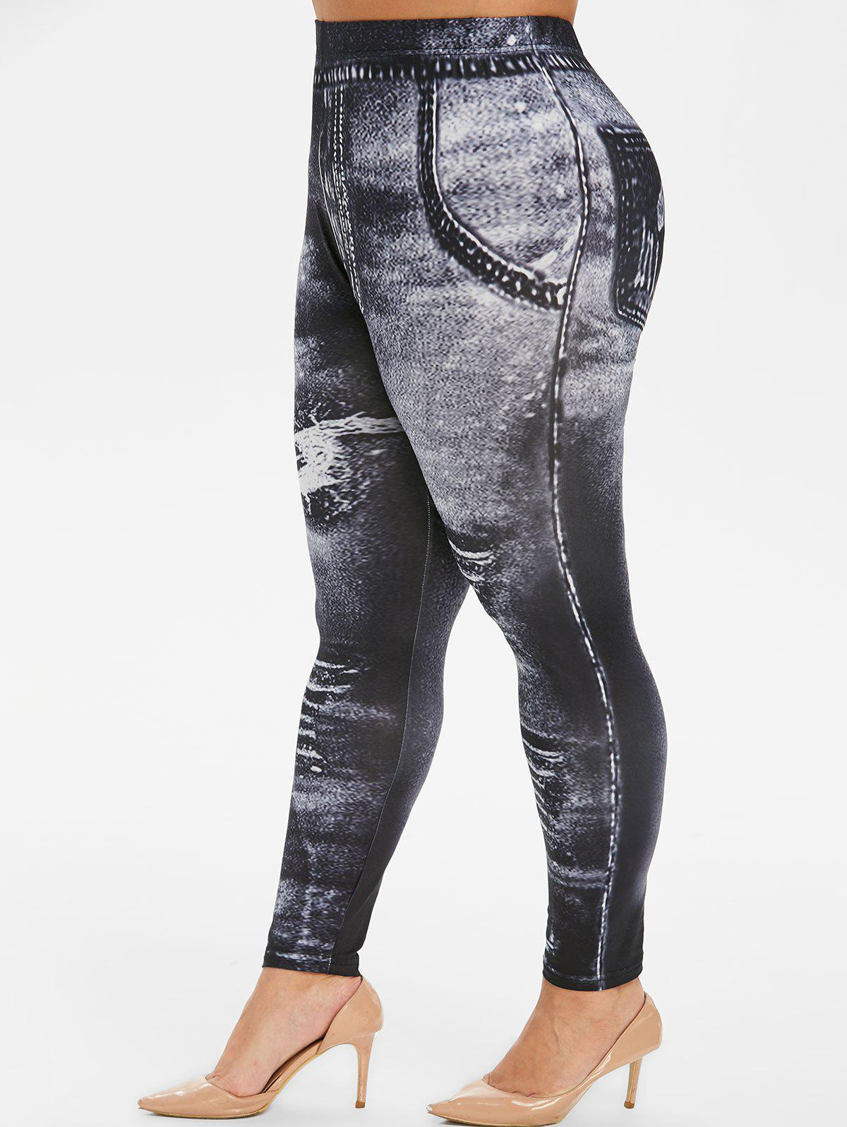 Hot Plus Size Ripped Jean 3D Print Skinny Jeggings