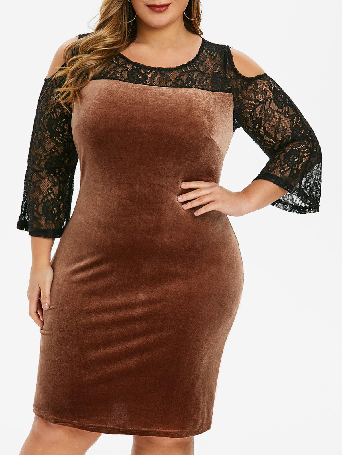 Plus Size Lace Insert Velvet Cold Shoulder Dress