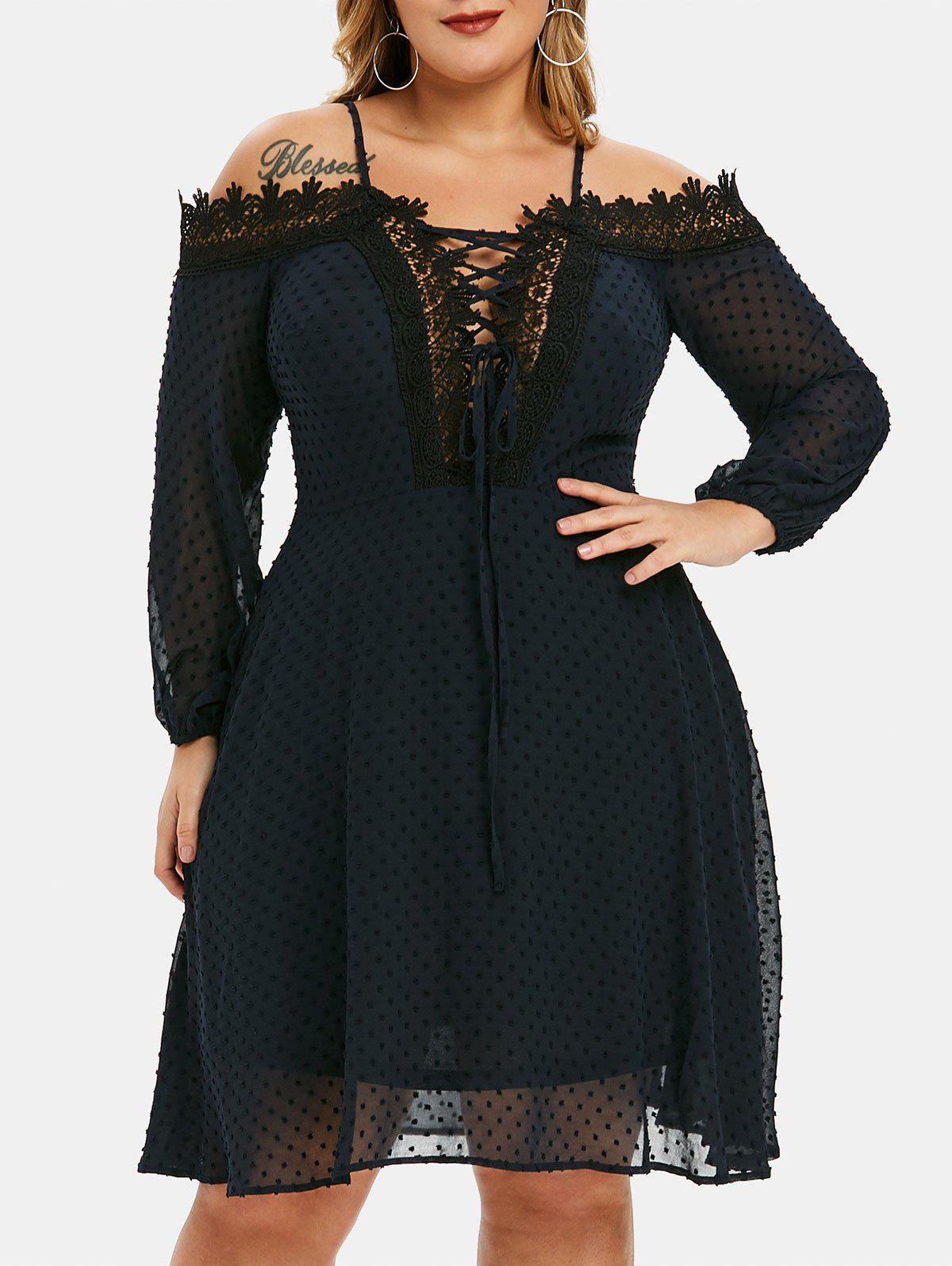Shops Plus Size Lace Up Swiss Dot Cold Shoulder Dress