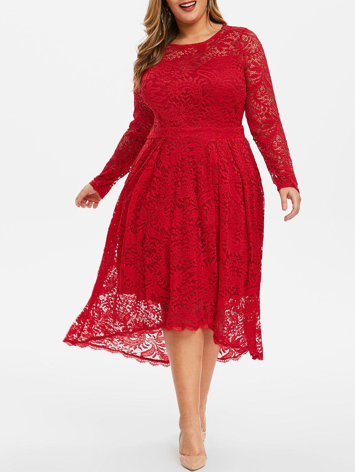 Back Zipper Long Sleeve Plus Size Lace Dress