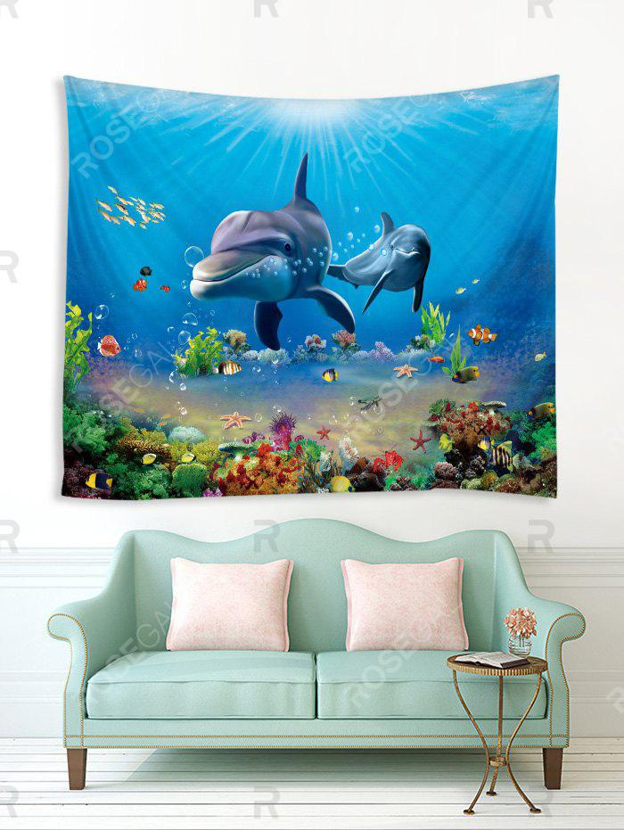 Cheap 3D Print Dolphin Fish Underwater World Wall Tapestry