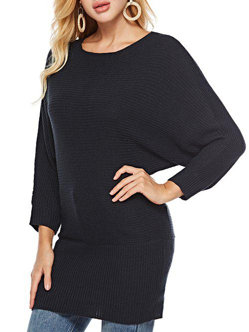 Chic Batwing Sleeves Solid Round  Neck Sweater