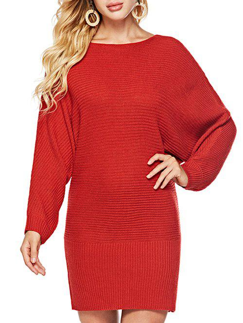 Cheap Batwing Sleeves Solid Round  Neck Sweater