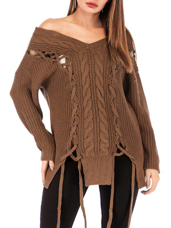 Online Lace Up Cable Knit Off Shoulder Sweater