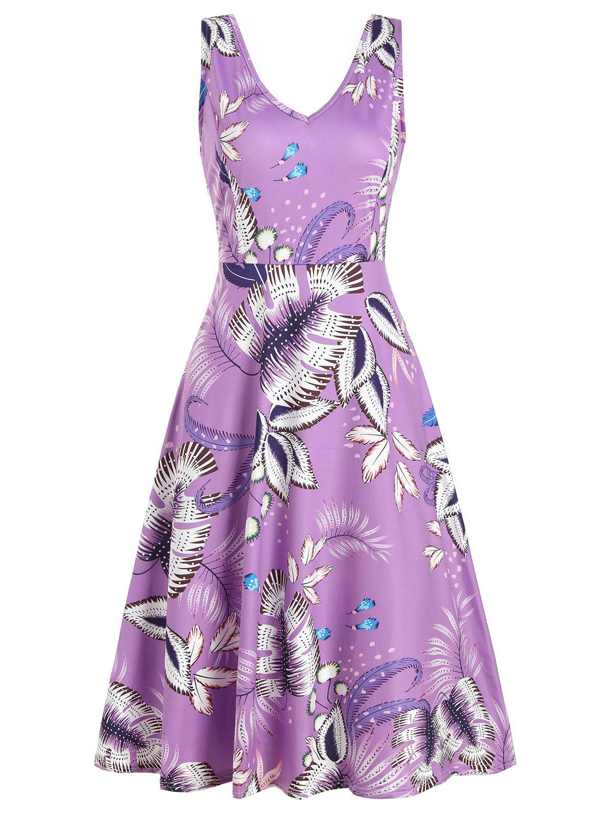 Shop V Neck Leaf Print Sleeveless Dress