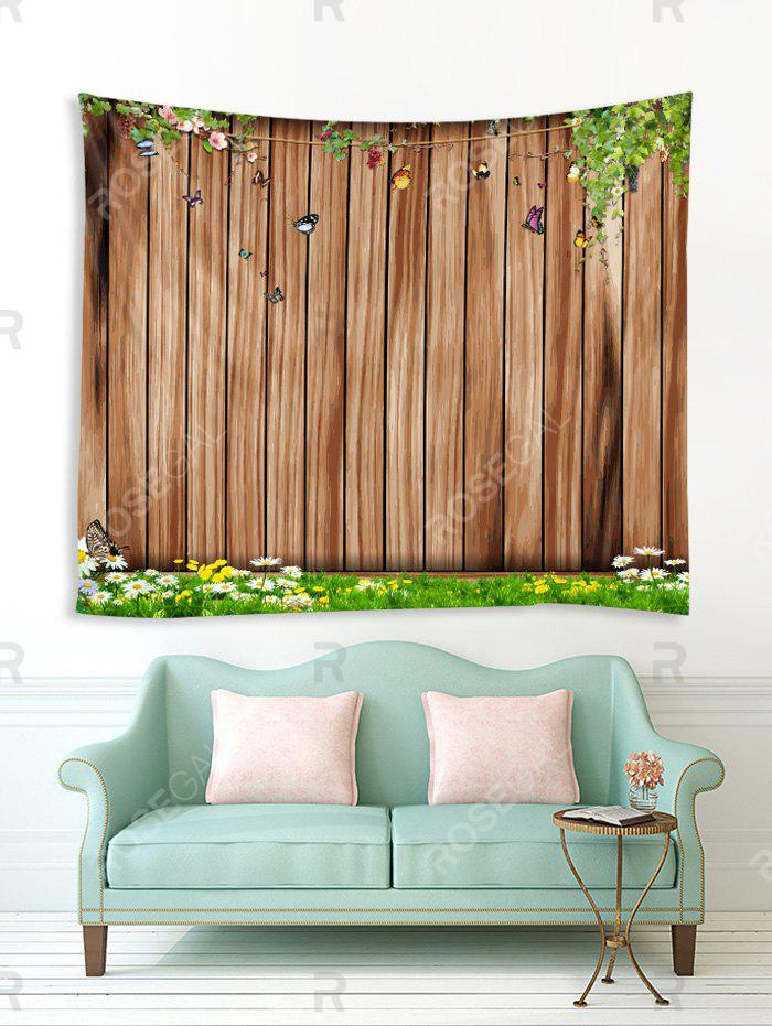 Wooden Board Flowers Printed Tapestry Wall Hanging Art Decoration