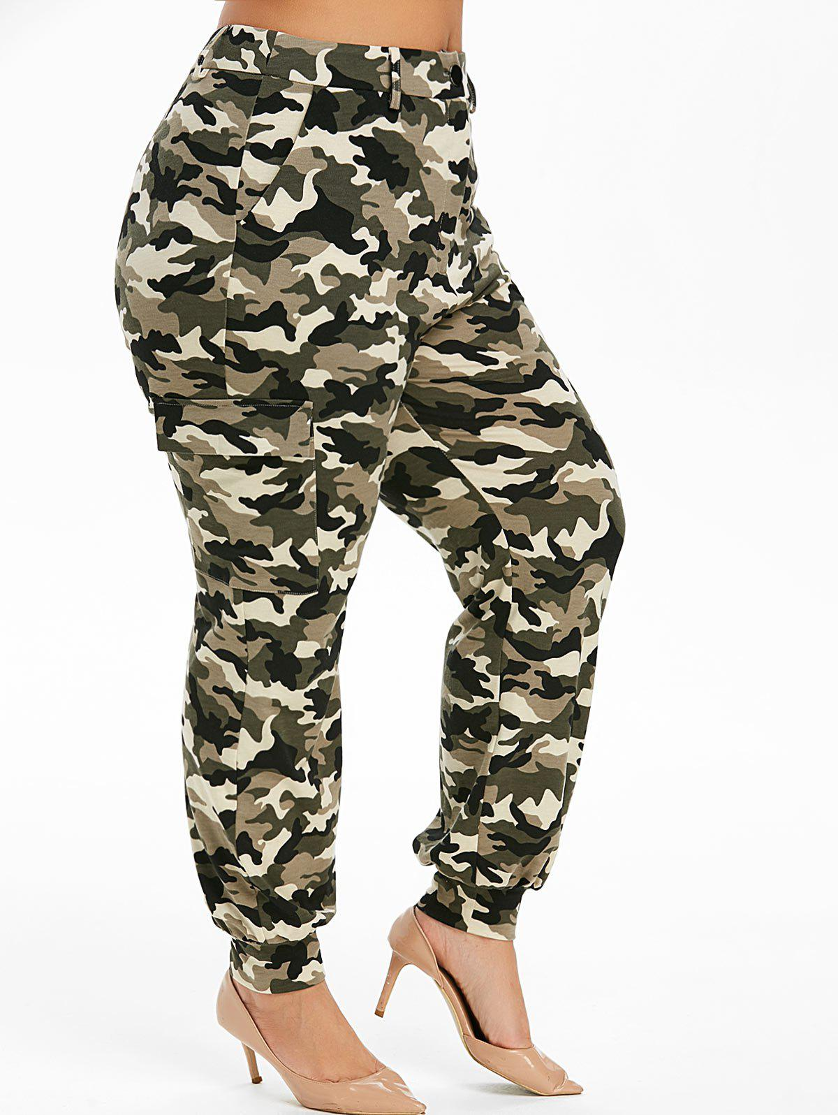 Cheap Plus Size High Waist Camouflage Print Pants
