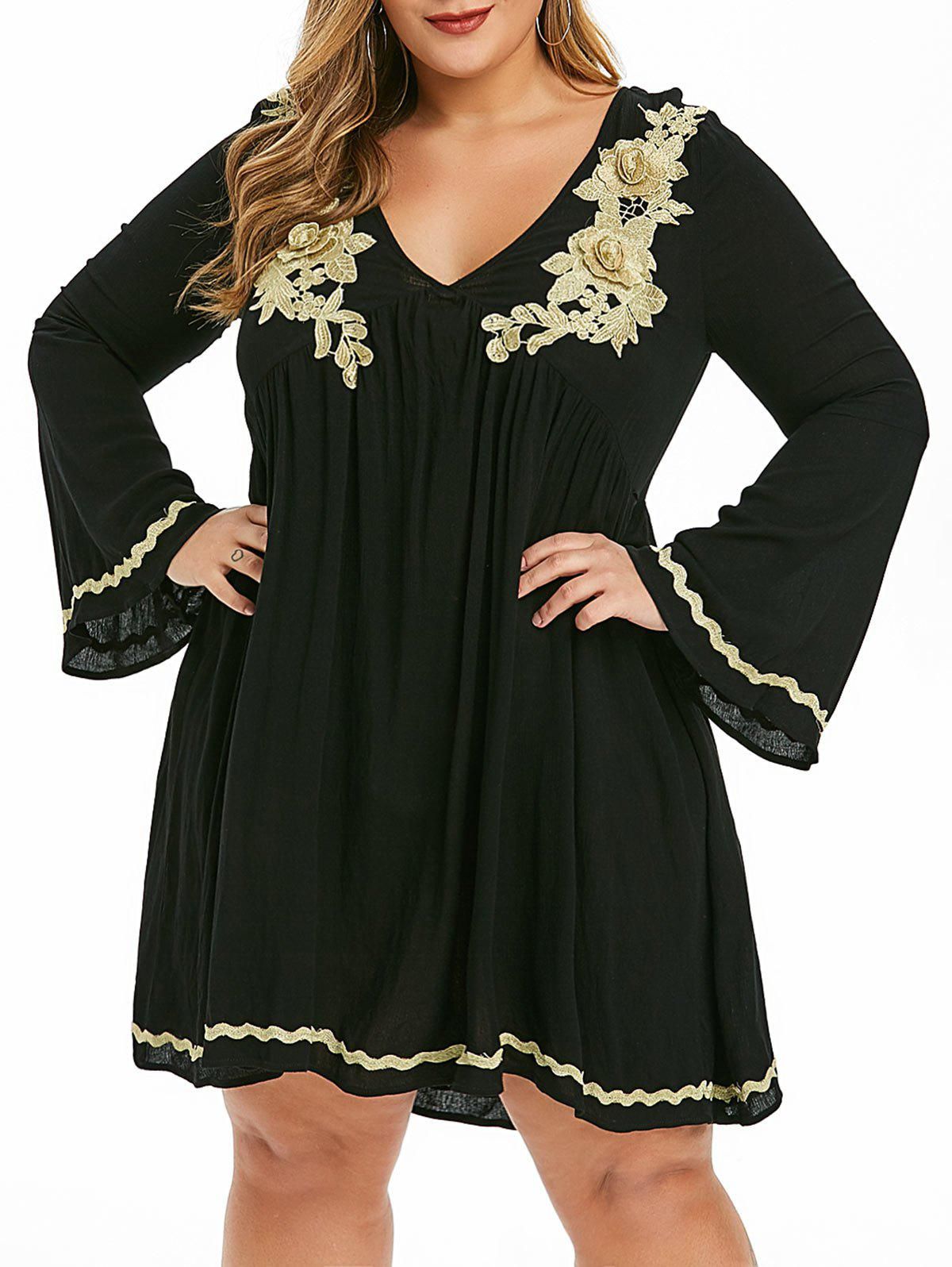 New Plus Size Embroidered Empire Waist Dress