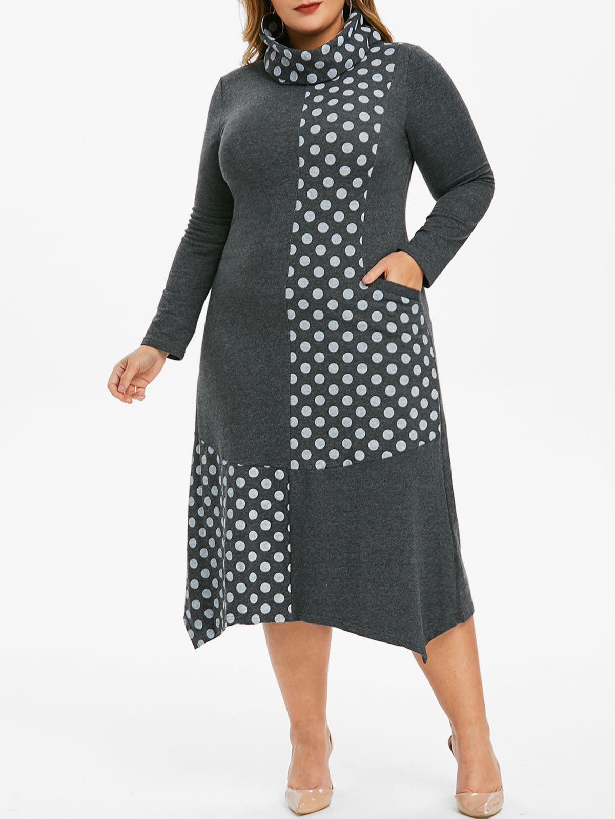 Outfit Plus Size Polka Dot Pocket Asymmetrical Dress with Ring Scarf