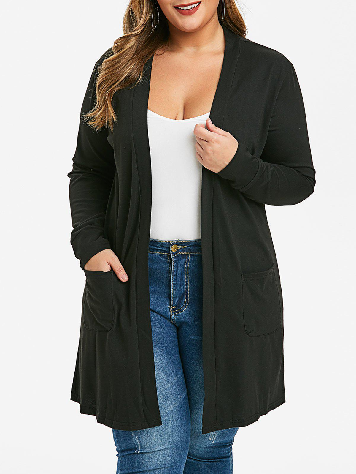 Affordable Plus Size Collarless Longline Cardigan