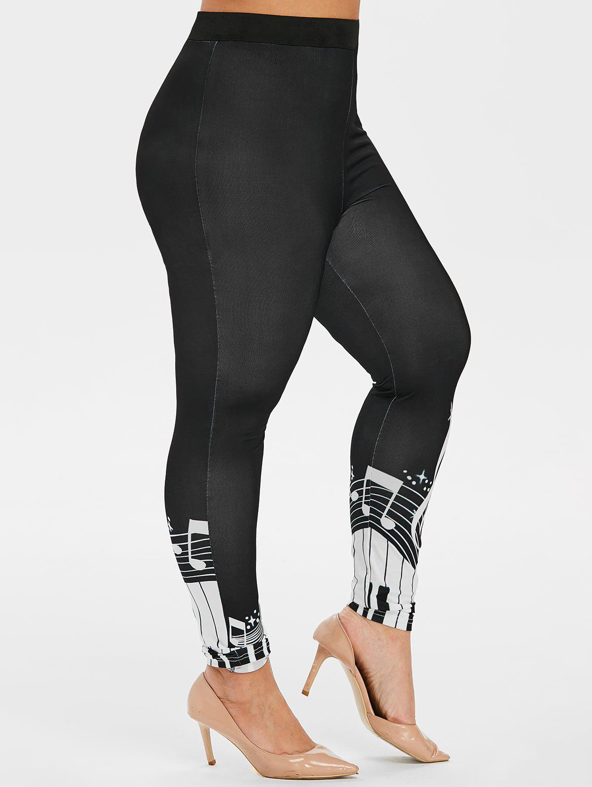 Unique Plus Size Musical Note High Waisted Leggings