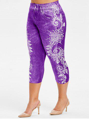 Plus Size Side Flower Faux Jean Capri 3D Leggings - PURPLE SAGE BUSH - L