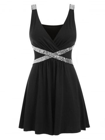 Sequined Sleeveless Low Cut Dress
