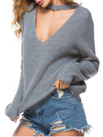 Choker Cut Out Knitted Casual Sweater
