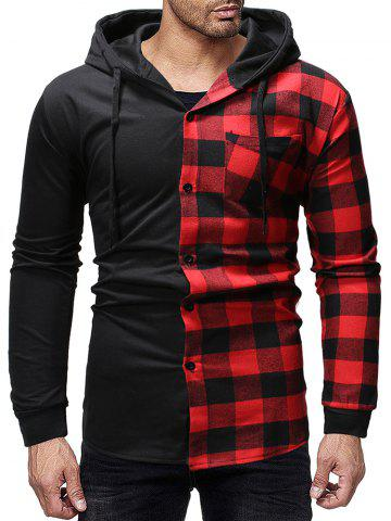 Contrast Plaid Patch Pockets Hooded Shirt