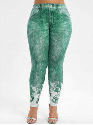 High Waisted 3D Printed Plus Size Jeggings -