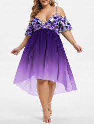High Low Mermaid Scales Cold Shoulder Plus Size Dress -