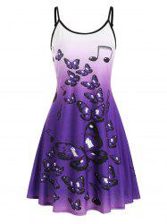 Ombre Butterfly Print Cami Mini Dress -