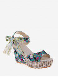 Bowknot Tiny Flower Wedge High Heel Sandals -